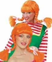 Sterk meisje pruik oranje voor dames trend