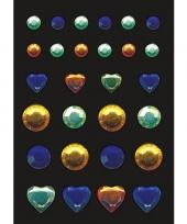 Stickers met blauwe groene en gele strass steentjes trend