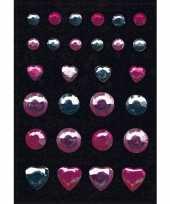 Stickers met roze en zilveren strass steentjes trend