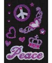 Stickers peace met strass steentjes trend