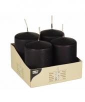 Stompkaarsen 4 stuks zwart 8 cm trend