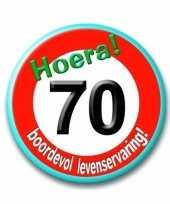 Stopbord button 70e verjaardag trend