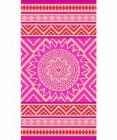 Strandlaken badlaken mandala print roze oranje mancora 86 x 160 trend