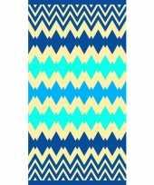 Strandlaken badlaken zigzag blauw kenton 90 x 170 cm trend