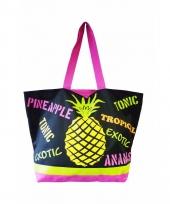 Strandtas ananas zwart 58 cm trend