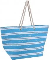 Strandtas blauw met witte strepen trend