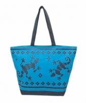 Strandtas gekko blauw donkerblauw 58 cm trend