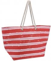Strandtas rood met witte strepen trend