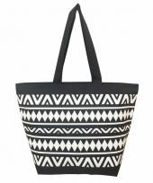 Strandtas tulum zwart wit 58 cm trend