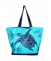 Strandtas turtle blauw 58 cm trend