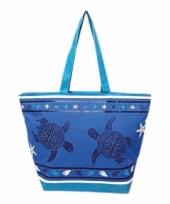 Strandtas turtle blauw donkerblauw 58 cm trend
