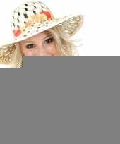 Stro hoeden met stoffen band dames trend