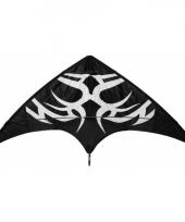 Stuntvlieger zwart met witte tribal 165 x 80 cm trend