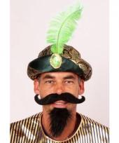 Sultan muts met groene veer trend