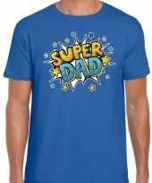Super dad cadeau t-shirt voor papa blauw voor heren trend