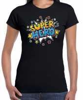 Super hero cadeau t-shirt zwart voor dames trend