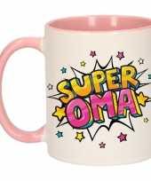 Super oma cadeau mok beker wit en roze met sterren 300 ml trend