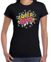 Super oma cadeau t-shirt zwart voor dames trend 10191349