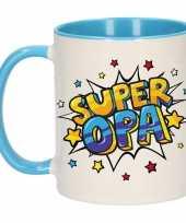 Super opa cadeau mok beker wit en blauw met sterren 300 ml trend