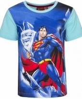 Superman t-shirt blauwe mouw trend