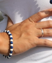 Supporters armband blauw met wit trend