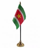 Suriname tafelvlaggetje 10 x 15 cm met standaard trend
