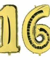 Sweet 16 gouden folie ballonnen 88 cm leeftijd cijfer 16 jaar trend
