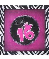 Sweet 16 servetten 20 stuks trend