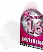 Sweet 16 uitnodigingskaarten 8 stuks trend