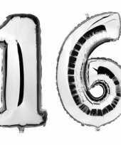 Sweet 16 zilveren folie ballonnen 88 cm leeftijd cijfer 16 jaar trend