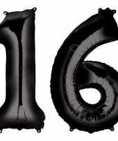 Sweet 16 zwarte folie ballonnen 88 cm leeftijd cijfer 16 jaar trend