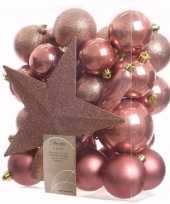 Sweet christmas kerstboom decoratie set oud roze 33 delig trend