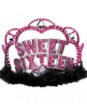 Sweet sixteen tiara met roze steentjes trend