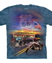 T shirt voor volwassenen met de afdruk van een route 66 trend