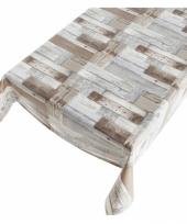 Tafelkleed pvc kleuren houten schrootjes motief x 240 cm trend