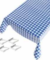 Tafelkleed tafelzeil blauwe ruiten 140 x 170 cm met 4 klemmen trend