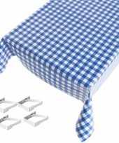 Tafelkleed tafelzeil blauwe ruiten 140 x 245 cm met 4 klemmen trend