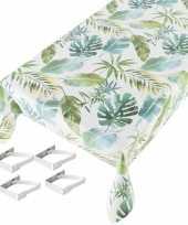 Tafelkleed tafelzeil botanische print 140 x 245 cm met 4 klemmen trend