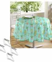 Tafelkleed tafelzeil cactus print 160 cm rond met 4 klemmen trend