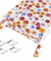 Tafelkleed tafelzeil gerbera motief 140 x 245 cm met 4 klemmen trend
