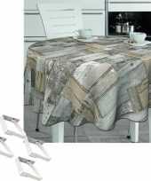 Tafelkleed tafelzeil houten planken 160 cm rond met 4 klemmen trend