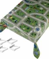 Tafelkleed tafelzeil kinder speelkleed 140x245 cm met 4 klemmen trend