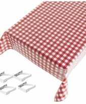 Tafelkleed tafelzeil rode ruiten 140 x 240 cm met 4 klemmen trend
