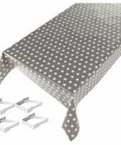 Tafelkleed tafelzeil sterren grijs 140 x 240 cm met 4 klemmen trend