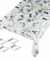Tafelkleed tafelzeil vogel motief 140 x 245 cm met 4 klemmen trend