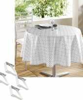 Tafelkleed tafelzeil wit grijs motief 160 cm rond met 4 klemmen trend