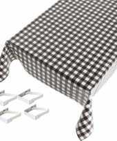 Tafelkleed tafelzeil zwarte ruiten 140 x 170 cm met 4 klemmen trend