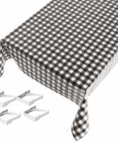 Tafelkleed tafelzeil zwarte ruiten 140 x 240 cm met 4 klemmen trend