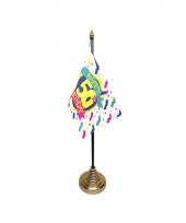 Tafelvlaggetje happy birthday 50 met standaard trend
