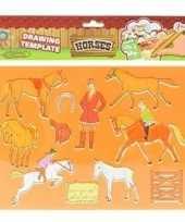 Tekensjabloon paarden oranje trend